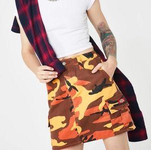 NWT Dickies Camo Cargo Pocket Orange Mini Skirt